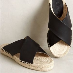 Soludos black cross espadrilles/sandals